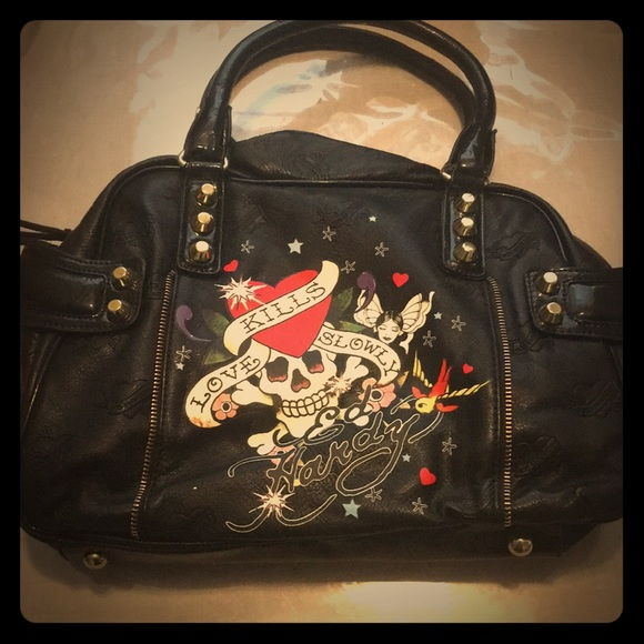 93bed9ec0d Ed Hardy Handbags - Ed hardy tattoo purse handbag skull love kills new